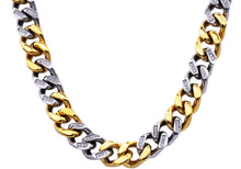 Load image into Gallery viewer, Mens 14mm Two Tone Gold Plated and Stainless Steel Curb Link Chain Necklace with cubic Zirconia - Blackjack Jewelry