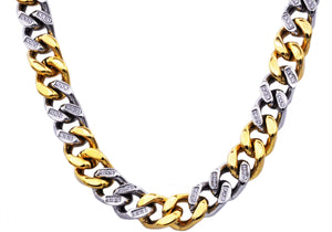 Mens 14mm Two Tone Gold Plated and Stainless Steel Curb Link Chain Necklace with cubic Zirconia - Blackjack Jewelry