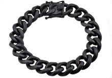 Load image into Gallery viewer, Mens 14mm Matte Black Plated Stainless Steel Miami Cuban Link Chain Bracelet With Box Clasp - Blackjack Jewelry