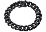 Mens 14mm Matte Black Plated Stainless Steel Miami Cuban Link Chain Bracelet With Box Clasp - Blackjack Jewelry