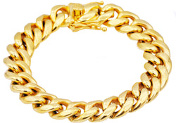 Mens Gold Plated Stainless Steel Cuban Link Chain Bracelet - Blackjack Jewelry