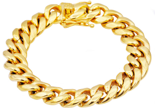 Mens 14mm 18k Gold Plated Stainless Steel Miami Cuban Link Chain Bracelet With Box Clasp - Blackjack Jewelry