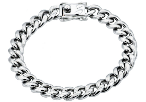 Mens 10mm Stainless Steel Cuban Link Chain Bracelet With Box Clasp - Blackjack Jewelry
