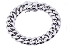 Load image into Gallery viewer, Mens 14mm Stainless Steel Cuban Link Chain Bracelet With Box Clasp - Blackjack Jewelry