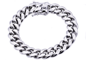 Mens 14mm Stainless Steel Cuban Link Chain Bracelet With Box Clasp - Blackjack Jewelry