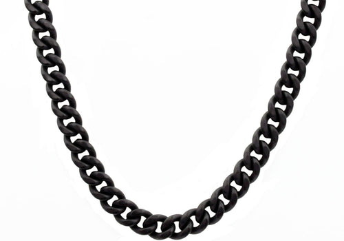 Mens 10mm Matte Black Plated Stainless Steel Miami Cuban Link Chain Necklace With Box Clasp - Blackjack Jewelry