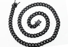 Load image into Gallery viewer, Mens 10mm Matte Black Plated Stainless Steel Miami Cuban Link Chain Necklace With Box Clasp - Blackjack Jewelry