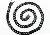 Mens Black Plated Stainless Steel Cuban Link Chain Necklace - Blackjack Jewelry