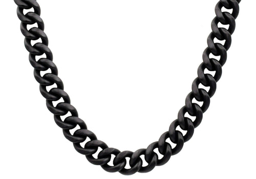 Mens 14mm Matte Black Plated Stainless Steel Miami Cuban Link Chain Necklace With Box Clasp - Blackjack Jewelry