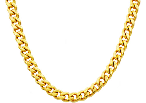 Mens 10mm 18k Gold Plated Stainless Steel Cuban Link Chain Necklace With Box Clasp - Blackjack Jewelry