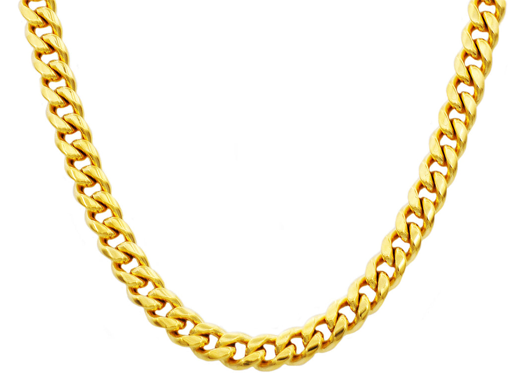 Mens 10mm Gold Stainless Steel Cuban Link Chain Necklace With Box Clasp - Blackjack Jewelry