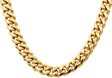 Load image into Gallery viewer, Mens 14mm 18k Gold Plated Stainless Steel Cuban Link Chain Necklace With Box Clasp - Blackjack Jewelry