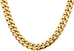 Mens 14mm 18k Gold Plated Stainless Steel Cuban Link Chain Necklace With Box Clasp - Blackjack Jewelry