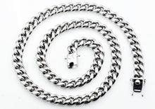 Load image into Gallery viewer, Mens 10mm Stainless Steel Cuban Link Chain Necklace With Box Clasp - Blackjack Jewelry