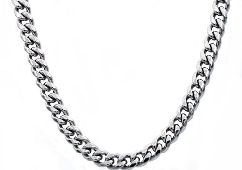 Mens 10mm Stainless Steel Cuban Link Chain Necklace With Box Clasp - Blackjack Jewelry
