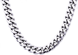 Mens 14mm Stainless Steel Cuban Link Chain Necklace With Box Clasp - Blackjack Jewelry