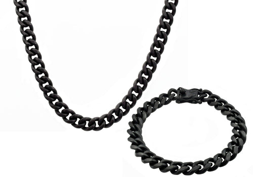 Mens 10mm Matte Black Stainless Steel Miami Cuban Link Chain With Box Clasp Set - Blackjack Jewelry