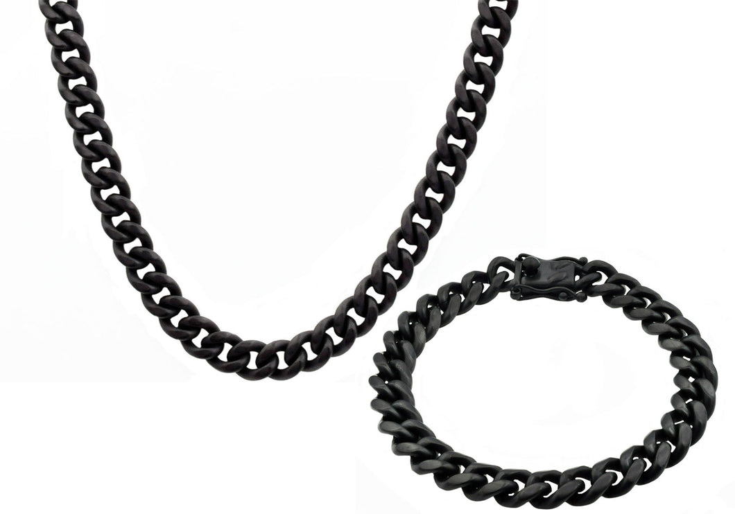 Mens 10mm Matte Black Plated Stainless Steel Miami Cuban Link Chain With Box Clasp Set - Blackjack Jewelry