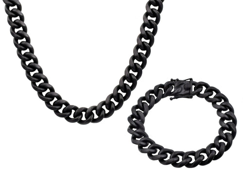 Mens 14mm Matte Black Plated Stainless Steel Miami Cuban Link Chain With Box Clasp Set - Blackjack Jewelry