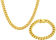 Load image into Gallery viewer, Mens 10mm 18k Gold Plated Stainless Steel Miami Cuban Link Chain With Box Clasp Set - Blackjack Jewelry