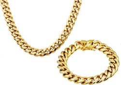 Mens 14mm 18k Gold Plated Stainless Steel Miami Cuban Link Chain With Box Clasp Set - Blackjack Jewelry