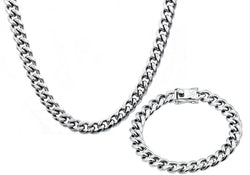 Mens 10mm  Stainless Steel Cuban Link Chain With Box Claps Set - Blackjack Jewelry