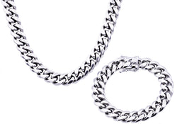 Mens 14mm Miami Cuban Stainless Steel Link Chain With Box Clasp Set - Blackjack Jewelry