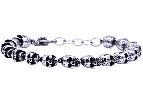 Mens Adjustable Stainless Steel Skull Chain Bracelet - Blackjack Jewelry