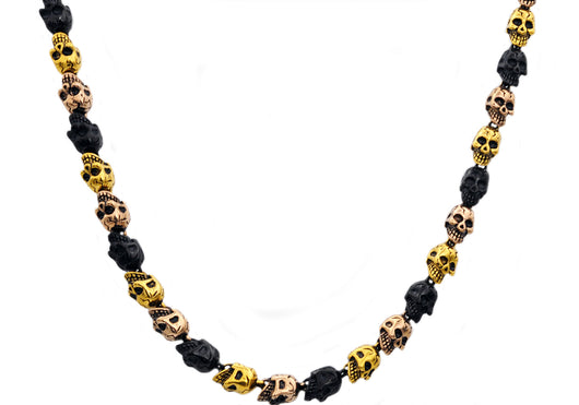 Mens Gold Rose And Black Plated Stainless Steel Skull Chain Necklace