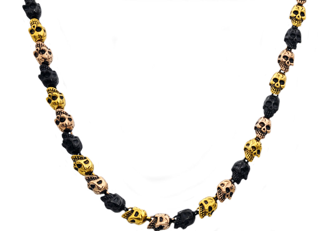 Mens Gold Rose Gold And Black Plated Stainless Steel Skull Chain Necklace - Blackjack Jewelry