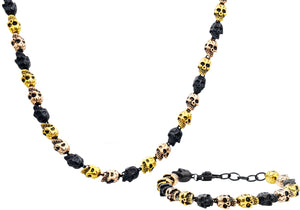 Mens Gold Rose And Black Plated Stainless Steel Skull Link Chain Set - Blackjack Jewelry