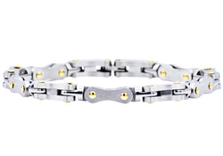 Mens Stainless Steel Link Chain Bracelet With Gold Screws