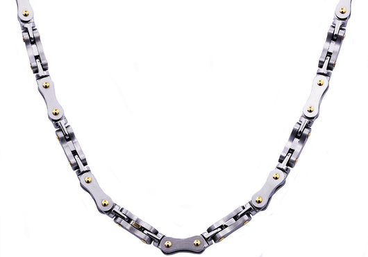 Mens Stainless Steel Link Chain Necklace With Gold Screws
