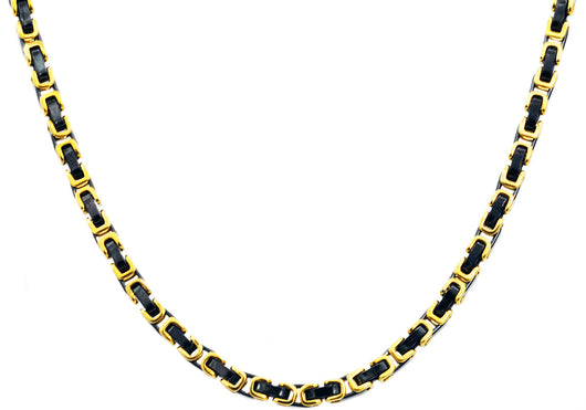 Mens Gold And Black Plated Stainless Steel Byzantine Link Chain Necklace