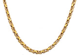 Mens Gold Plated Stainless Steel Byzantine Link Chain Necklace