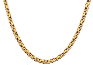 Mens 4mm Gold Plated Stainless Steel Byzantine Link Chain Necklace - Blackjack Jewelry