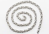 Mens Stainless Steel Byzantine Link Chain Necklace