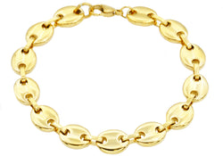 Mens Gold Plated Stainless Steel Puff Mariner Link Chain Bracelet