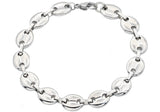 Mens Stainless Steel Puff Mariner Link Chain Bracelet