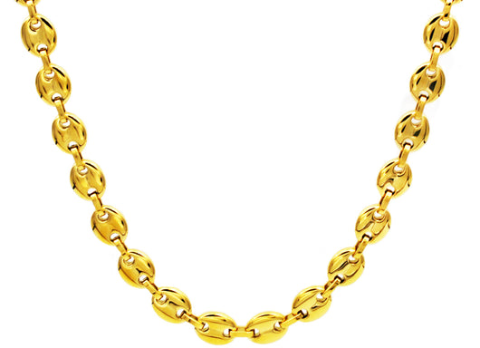 Mens Gold Plated Stainless Steel Puff Mariner Link Chain Necklace - Blackjack Jewelry