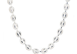 Mens Stainless Steel Puff Mariner Link Chain Necklace