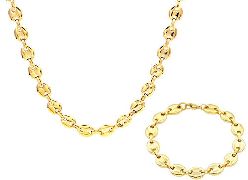 Mens Gold Stainless Steel Puff Mariner Link Chain Set - Blackjack Jewelry