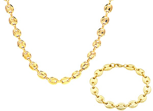 Mens Gold Plated Stainless Steel Puff Mariner Link Chain Set - Blackjack Jewelry