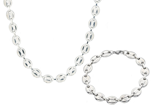 Mens Stainless Steel Puff Mariner Link Chain Set - Blackjack Jewelry