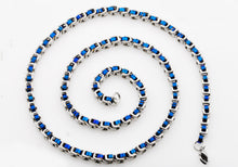 Load image into Gallery viewer, Mens Two tone Blue Stainless Steel U Link Chain Necklace - Blackjack Jewelry