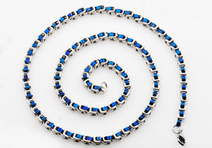 Mens Two tone Blue Stainless Steel U Link Chain Necklace - Blackjack Jewelry
