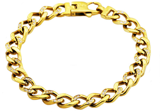 Mens Gold Plated Stainless Steel Curb Link Chain Bracelet With Cubic Zirconia - Blackjack Jewelry