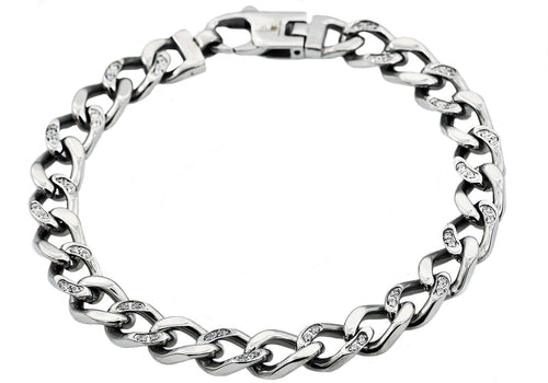 Mens Stainless Steel Curb Link Chain Bracelet With Cubic Zirconia - Blackjack Jewelry