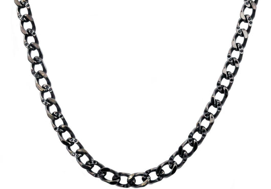 Mens Black Plated Stainless Steel Curb Link Chain Necklace With Cubic Zirconia - Blackjack Jewelry