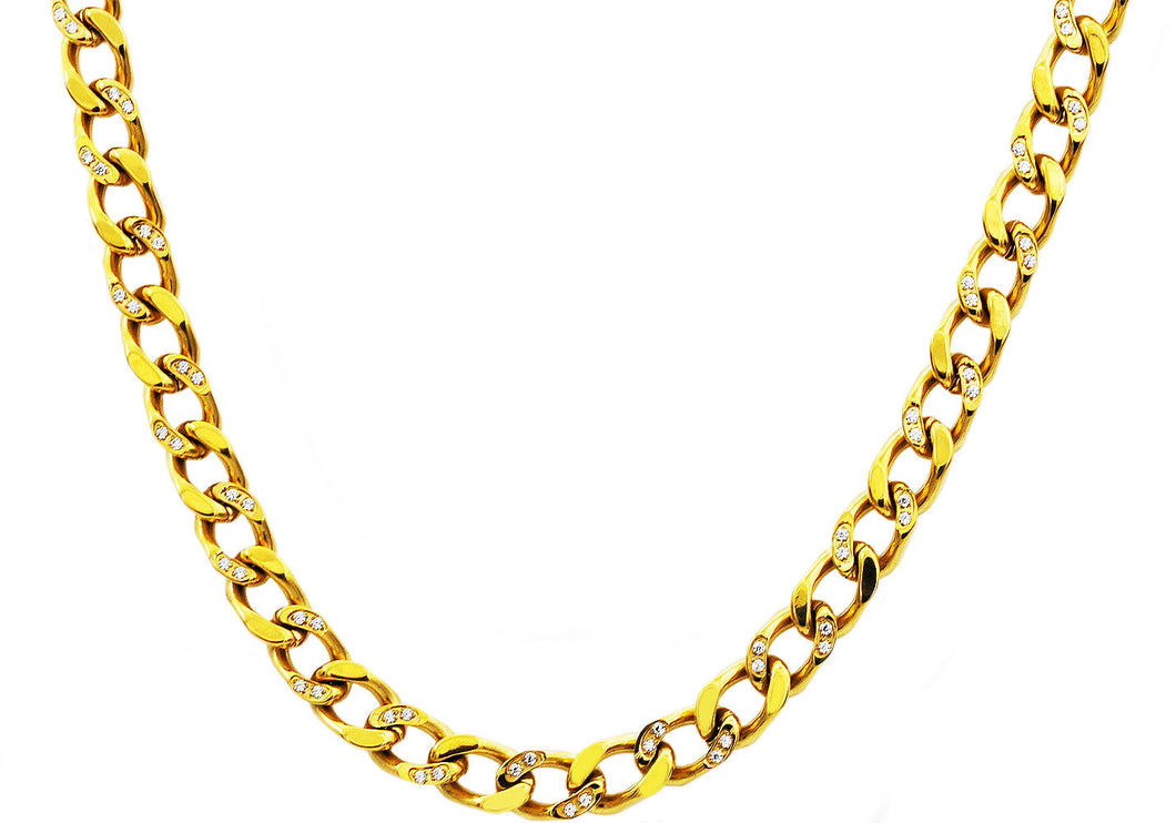 Mens Gold Stainless Steel Curb Link Chain Necklace With Cubic Zirconia - Blackjack Jewelry